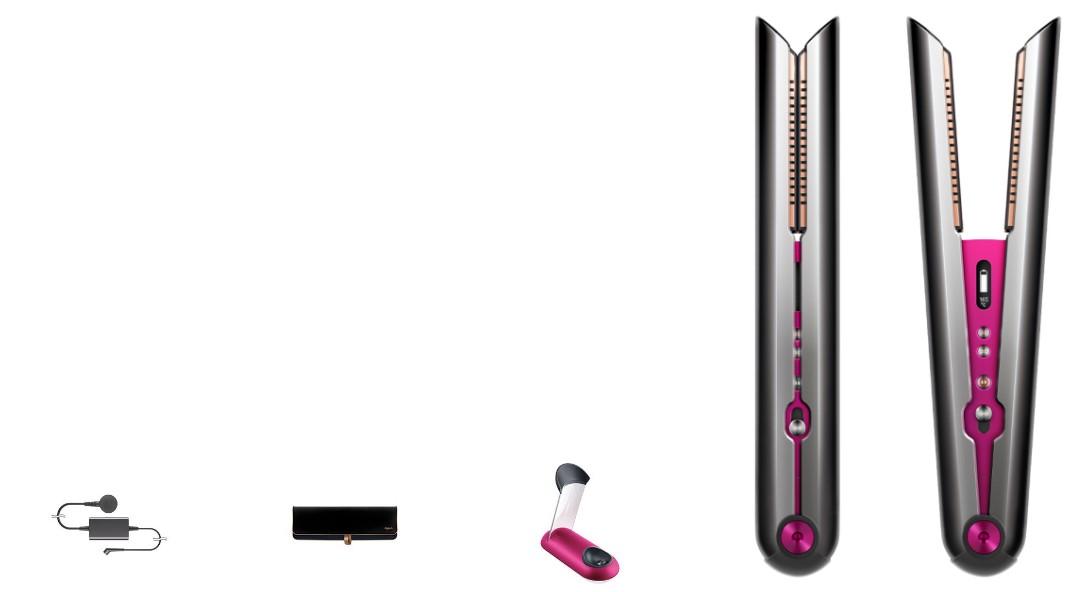 מחליק אלחוטי ™Dyson Corrale עם מברשת להתרת קשרים ומסרק רחב שיניים מעוצבים על ידי Dyson בצבע סגול
